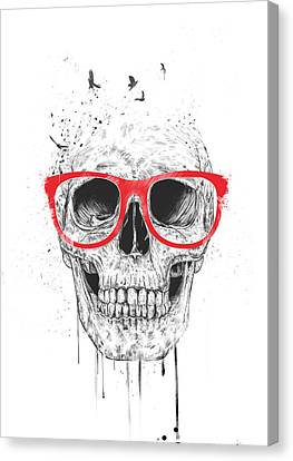 Skull With Red Glasses Canvas Print by Balazs Solti
