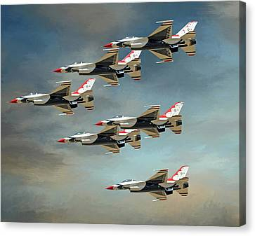 Sky Rockets In Flight Canvas Print by Donna Kennedy