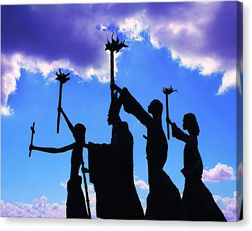 Sky Statues Canvas Print by Perry Webster