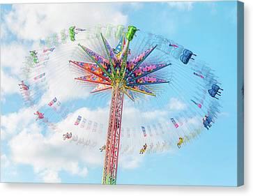 Sky Flyer Ride At Minnesota State Fair Canvas Print by Jim Hughes