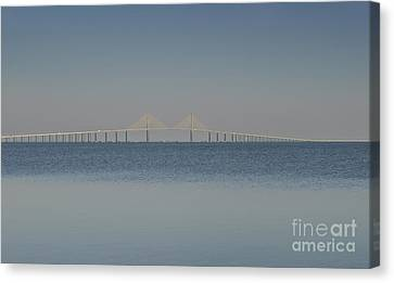 Skyway Bridge In Blue Canvas Print by David Lee Thompson