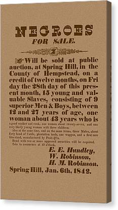Slave Auction Canvas Print by War Is Hell Store