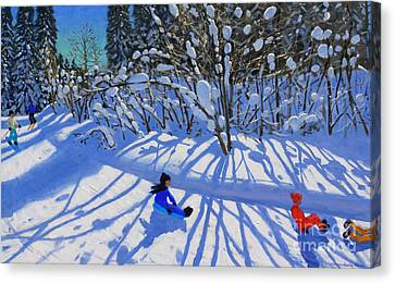 Sledging And Skiing Down The Trail Canvas Print by Andrew Macara