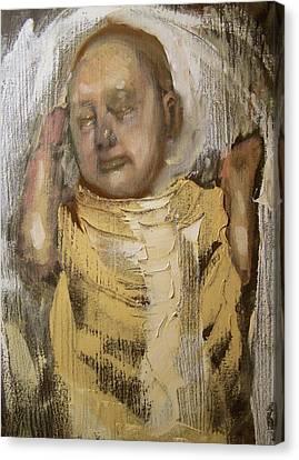 Sleeping Baby In Golden Cloth Canvas Print by Derek Van Derven