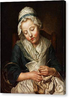 Sleeping Girl Canvas Print by Jean-Baptiste Greuze