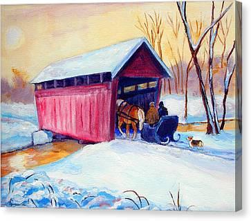Sleigh Ride - Pembroke Welsh Corgi Canvas Print by Lyn Cook