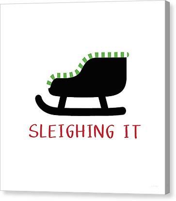 Sleighing It- Art By Linda Woods Canvas Print by Linda Woods