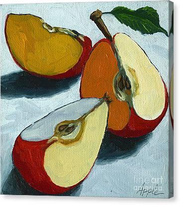 Sliced Apple Still Life Oil Painting Canvas Print by Linda Apple