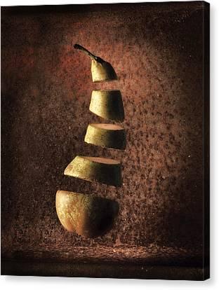Sliced Up Pear Canvas Print by Dirk Ercken
