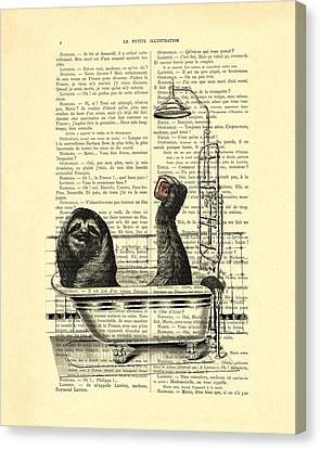 Sloth, Funny Children's Art, Bathroom Decor Canvas Print by Madame Memento