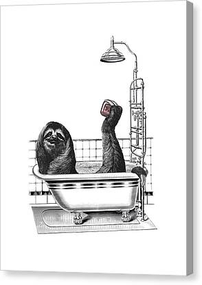 Sloth In Bathtub Taking A Shower Canvas Print by Madame Memento