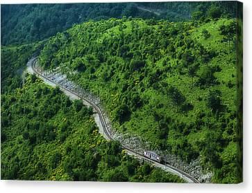 Small Casella Train Green Landscape Canvas Print by Enrico Pelos