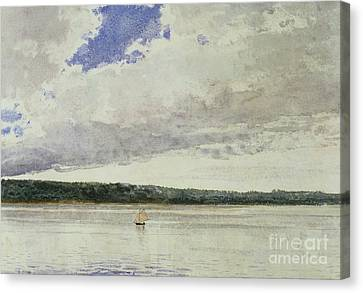 Small Sloop On Saco Bay Canvas Print by Winslow Homer