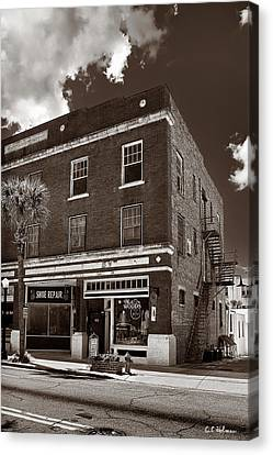 Small Town Shops - Sepia Canvas Print by Christopher Holmes