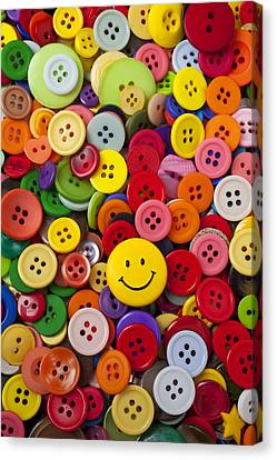 Smiley Face Button Canvas Print by Garry Gay