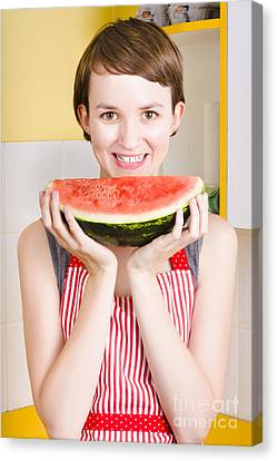 Smiling Young Woman Eating Fresh Fruit Watermelon Canvas Print by Jorgo Photography - Wall Art Gallery