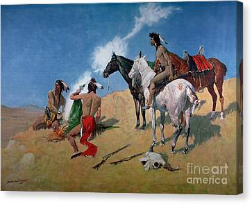 Smoke Signals Canvas Print by Frederic Remington