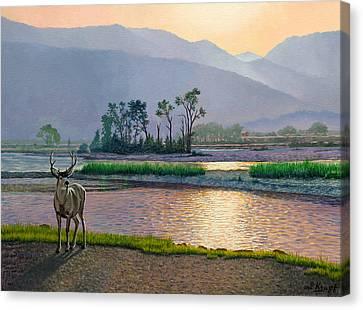 Smoky Morning Glitter Canvas Print by Paul Krapf