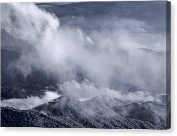 Smoky Mountain Vista In B And W Canvas Print by Steve Gadomski
