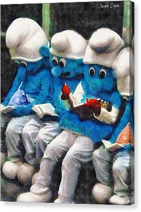 Smurfs At Library - Da Canvas Print by Leonardo Digenio