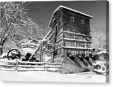 Snow Covered Historic Quarry Building Canvas Print by George Oze