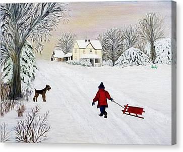 Snow Fun Canvas Print by Anke Wheeler