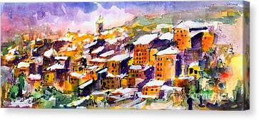 Snow In The South Of France Canvas Print by Ginette Callaway