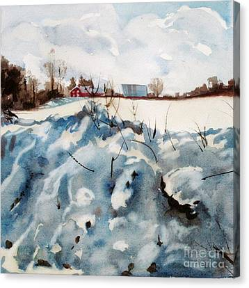 Snow On Southwick Canvas Print by Elizabeth Carr