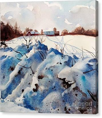 Snow On Southwick I Canvas Print by Elizabeth Carr