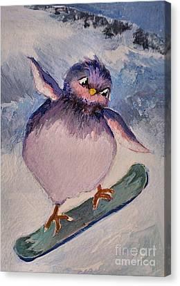 Snowboard Bird Canvas Print by Diane Ursin