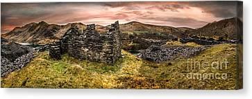 Snowdonia Ruins Panorama Canvas Print by Adrian Evans