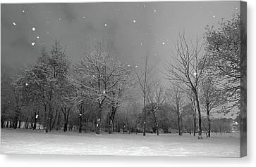 Snowfall At Night Canvas Print by Mark Watson (kalimistuk)