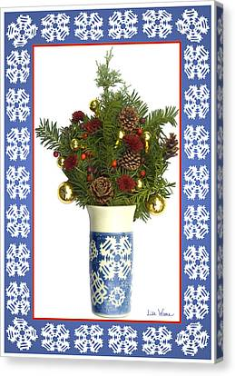 Snowflake Vase With Christmas Regalia Canvas Print by Lise Winne