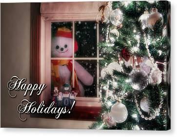 Snowman At The Window Card Canvas Print by Tom Mc Nemar