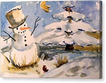 Snowman Hug Canvas Print by Mindy Newman