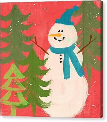 Snowman In Blue Hat- Art By Linda Woods Canvas Print by Linda Woods