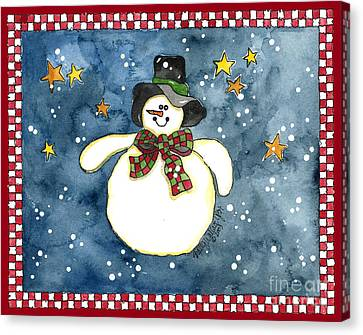 A Snowman On A Starry Night Canvas Print by Shelley Wallace Ylst