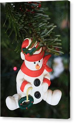 Snowman On A Christmas Tree  Canvas Print by American School