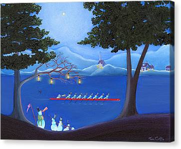 Snowmen Rowing Canvas Print by Thomas Griffin