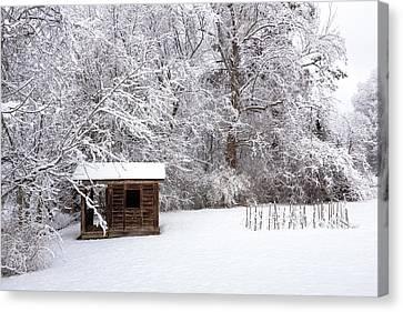 Snowy Cabin Canvas Print by Bryan Pollard