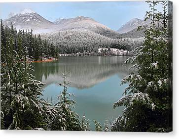 Snowy Green Lake Sunset Whistler B.c Canada Canvas Print by Pierre Leclerc Photography
