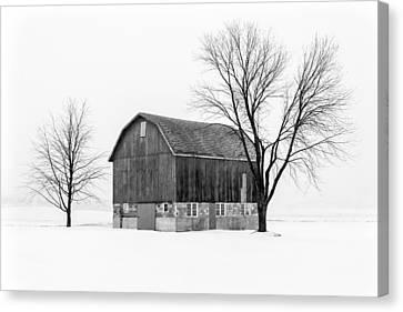 Snowy Little Barn Canvas Print by Todd Klassy