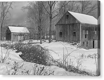 Snowy New England Barns 2016 Bw Canvas Print by Bill Wakeley