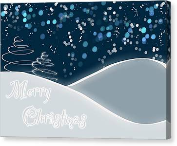 Snowy Night Christmas Card Canvas Print by Lisa Knechtel