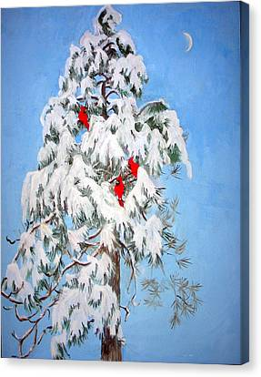 Snowy Pine With Cardinals Canvas Print by Ethel Vrana
