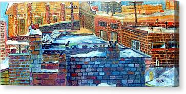 Snowy Roof Tops Canvas Print by Mindy Newman