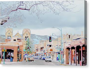 Snowy Santa Fe Canvas Print by Barbara Griswold-Kridner