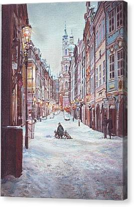 snowy Sunday night in Prague Canvas Print by Gordana Dokic Segedin