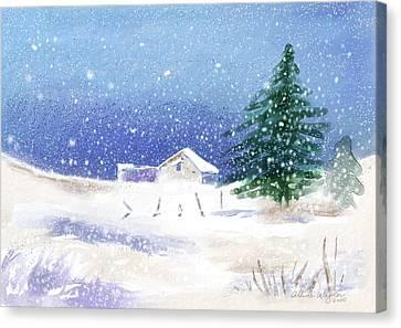 Snowy Winter Scene Canvas Print by Arline Wagner
