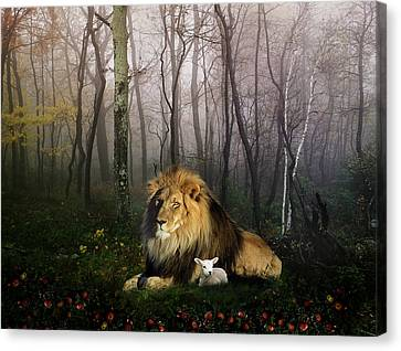 So The Lion Fell In Love With The Lamb Canvas Print by Julie L Hoddinott